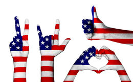 Trayectoria de recortes determinada de la bandera de América del color del gesto de mano dentro Fotos de archivo libres de regalías