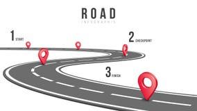Trayectoria del camino con los indicadores y las opciones del perno libre illustration