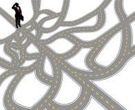 Trayectoria del complejo de la pregunta del hombre de negocios ilustración del vector