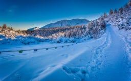 Trayectoria del invierno en las montañas en la salida del sol Imagen de archivo