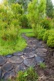 Trayectoria del paseo en el jardín adornado con los tocones de madera Imagen de archivo libre de regalías