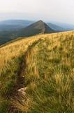 Trayectoria del senderismo del pico de Trem al canto del halcón en la montaña de Suva Planina Imagen de archivo libre de regalías