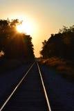 Trayectoria en la puesta del sol Imágenes de archivo libres de regalías