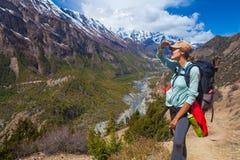 Trayectoria hermosa de las montañas del Backpacker del viajero de la mujer del primer El horizonte de las miradas de la chica jov Fotos de archivo libres de regalías