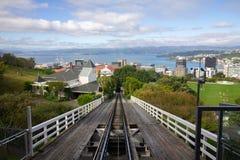 Trayectoria histórica del teleférico en la opinión superior de Wellington imagenes de archivo