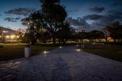 Trayectoria iluminada en el planetario de Galileo Galilei en Buenos Aires fotografía de archivo