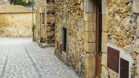 Trayectoria medieval de la piedra del adoquín de la calle Fotografía de archivo