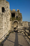 Trayectoria medieval del reloj del castillo de Kamerlengo en Trogir Imagen de archivo libre de regalías