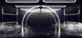 Trayectoria moderna futurista oscura de Hall Reflective Neon Glowing Sci Fi del Grunge del vapor de la niebla del arco del humo d stock de ilustración