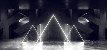 Trayectoria moderna futurista oscura de Hall Reflective Neon Glowing Sci Fi del Grunge del vapor de la niebla del triángulo del h stock de ilustración