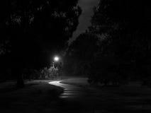 Trayectoria oscura y espeluznante de la bici en NightCreepy Imágenes de archivo libres de regalías