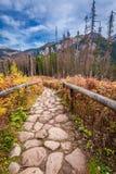 Trayectoria pedregosa en las montañas en otoño, Polonia de Tatras Fotografía de archivo