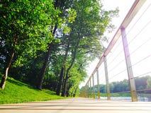 Trayectoria que camina de madera en parque verde agradable de la ciudad imágenes de archivo libres de regalías