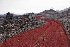 Trayectoria roja Islandia Imagen de archivo libre de regalías