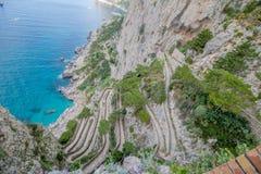 Trayectoria serpentina vía Krupp en Capri, Italia imagen de archivo