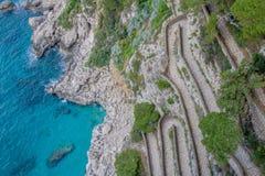 Trayectoria serpentina vía Krupp en Capri, Italia foto de archivo