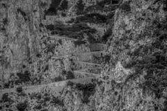 Trayectoria serpentina vía Krupp en Capri, Italia imágenes de archivo libres de regalías