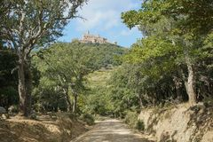 Trayectoria a través del castillo España de Requesens de maderas de roble de corcho Fotografía de archivo