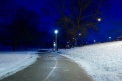 Trayectoria a través de la nieve Imágenes de archivo libres de regalías