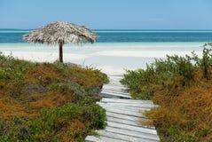 Trayectoria y playa de madera foto de archivo