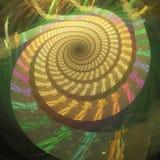 Trayectorias del espacio Espiral psicodélico abstracto en fondo oscuro Imágenes de archivo libres de regalías