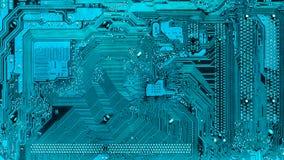 Trayectorias electrónicas en la placa madre en turquesa alta tecnología, elemento del ordenador Imagenes de archivo