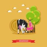 Trayeuse s'asseyant près de la vache sur la ferme, illustration de vecteur illustration stock