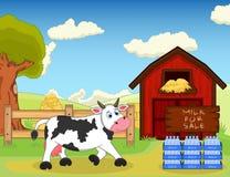 Trayez en vente et vache à la ferme Photographie stock libre de droits
