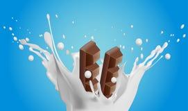 Trayez l'éclaboussure avec des deux chocolats sur le fond bleu illustration libre de droits