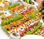 Trays with appetizer Stock Image