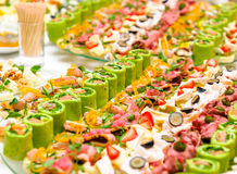 Trays with appetizer Stock Images