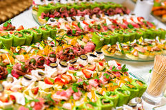 Trays with appetizer Stock Photos