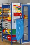 Trays and Bins Storage. Colourful Plastic Trays and Bins in Storage Room stock images