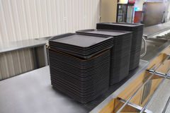 Trays on a cafe storefront Royalty Free Stock Photos