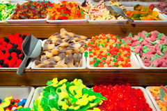 Trays caramel sweets and Bonbons. Royalty Free Stock Images
