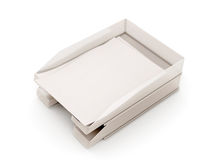 Trays for papers with sheets of paper Royalty Free Stock Images