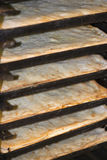 Trays with pizza base. Freshly taken out the oven in a bakery stock photo