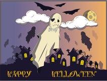 Trazer no dia de Dia das Bruxas Moscas sobre a cidade à vista da lua ilustração stock