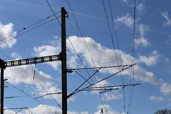 Trazione elettrica ferroviaria Fotografia Stock Libera da Diritti