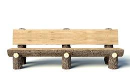 Träbänk som göras av treestammar Arkivfoto