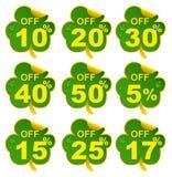 Trébol de la hoja de la venta del descuento oferta del 17 por ciento en día del St Patricks Imágenes de archivo libres de regalías