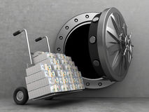 Trcuk with money in bank. 3d illustration of bank storage and truc full of money Royalty Free Stock Photo