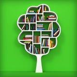 Träd av kunskap. Bokhylla på vit bakgrund. Royaltyfria Bilder