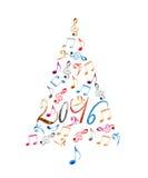 träd för 2016 jul med musikaliska anmärkningar för färgrik metall som isoleras på vit Arkivfoto