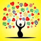 Trädet Handprints betyder Valentine Day And Childhood Royaltyfria Foton