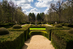 Trädgård av La Granja de San Ildefonso, Spanien Arkivfoton