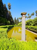 Trädgårdar i Alcazar av Seville, Spanien Fotografering för Bildbyråer
