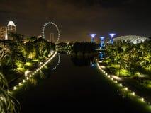 Trädgårdar vid fjärden och det Singapore flygbladet på natten Royaltyfria Bilder