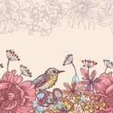 Trädgårdblomma- och fågelhorisontalsömlöst band Arkivfoto