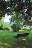 Trädgårds- bänk med en sikt Arkivbilder